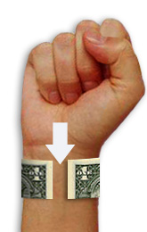 Dollar bill wrapped around wrist